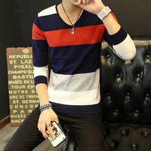 Mens Sweaters Clothes New Classic Simplicity Pullover V-Neck Patchwork Men Striped Long Sleeves Grey Black Teenagers Sweaters