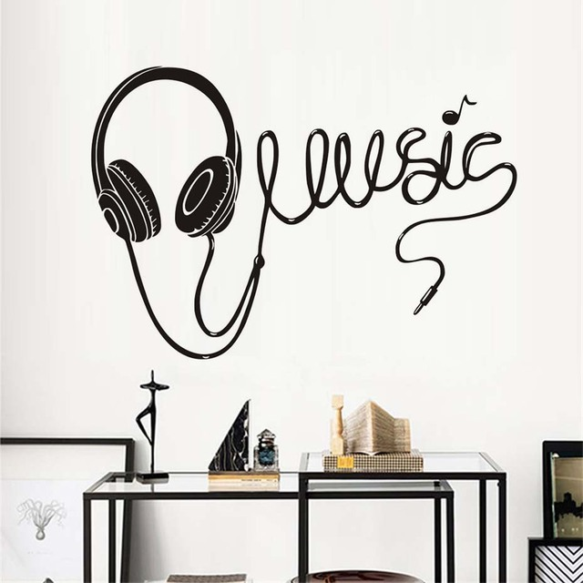 large size music headphones silhouette wall stickers home decoration