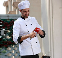 Man Chef's Uniform,Restaurant Chef Jackets,Double Breasted Concise Chef's Long Sleeve Kitchen Work Wear,Free Shipping,C23
