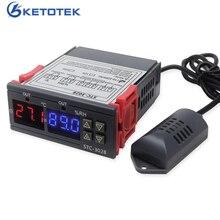 التيار المتناوب 110 فولت 220 فولت تيار مستمر 12 فولت STC 3028 درجة الحرارة الرقمية الرطوبة التحكم ترموستات الرطوبة ميزان الحرارة الرطوبة المراقب المالي