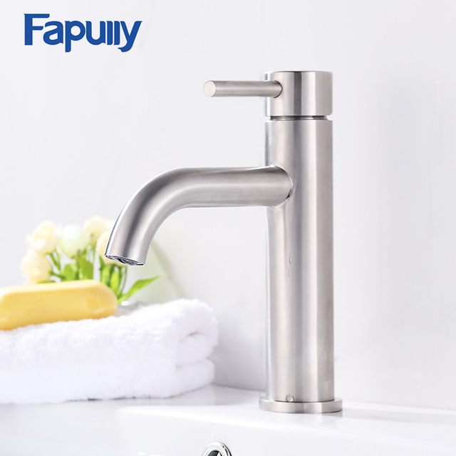 Fapully Bathroom Basin Faucet Brushed Nickel Deck Mounted Stainless Steel  Basin Sink Faucet Water Tap Mixers