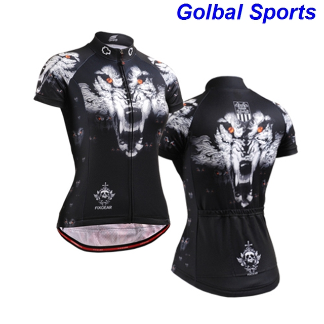 US $33 99  New 2017 women Highrise Onyx Blacka lot of styles short sleeve  cycling jersey bike jersey 3d tiger head riding wear clothes-in Cycling