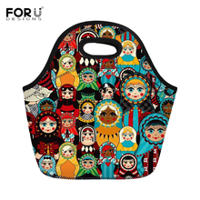 FORUDESIGNS Insulated Thermal Lunch Bags for Kids Girls Cute Russia Matryoshka Printed Tote Cooler Food Bag Storage Container