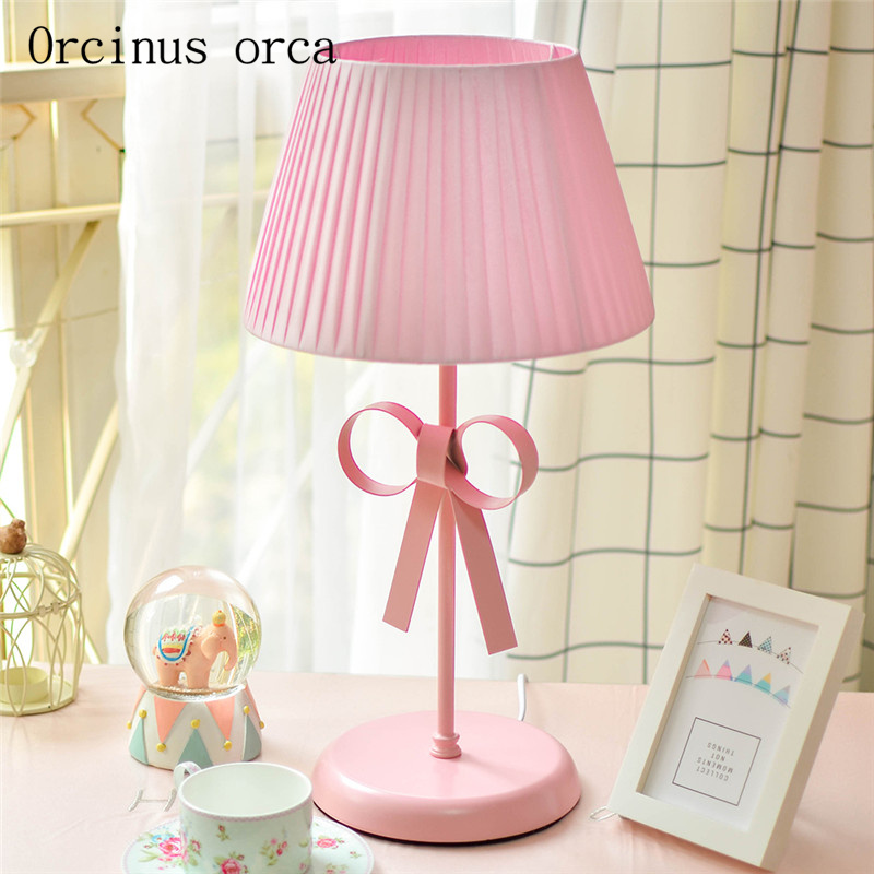 the small fresh and lovely bowknot desk lamp children room princess girls bedroom bedside lamp warm creative desk lamp