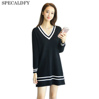 2017 Autumn Winter Knitted Sweater Women V Neck Black White Striped Knitted Dresses Long Sweater Dress