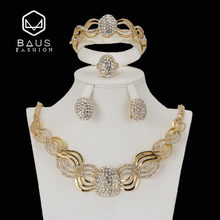 Exquisite Nigerian wedding necklace african beads jewelry set for women dubai jewelry sets Gold-color Imitated crystal jewellery(China)