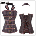 Luxurious Brown Steampunk Gothic Punk Steel Boned Halter Corset Vintage Corsets and Bustiers Modeling Strap
