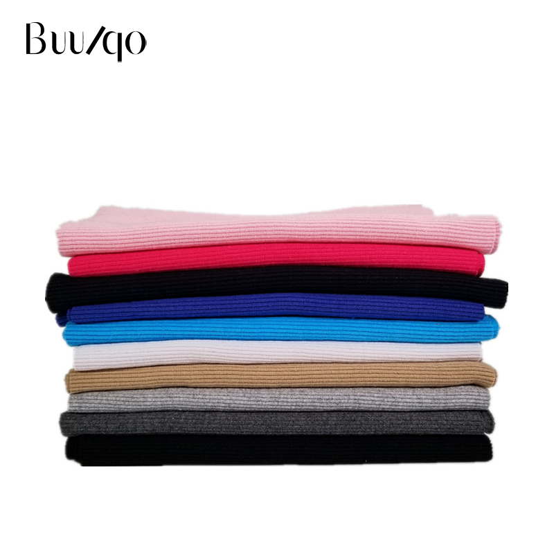 Buulqo 10*110cm Cotton elastic ribcuff hem fabric thread women sportswear fabric