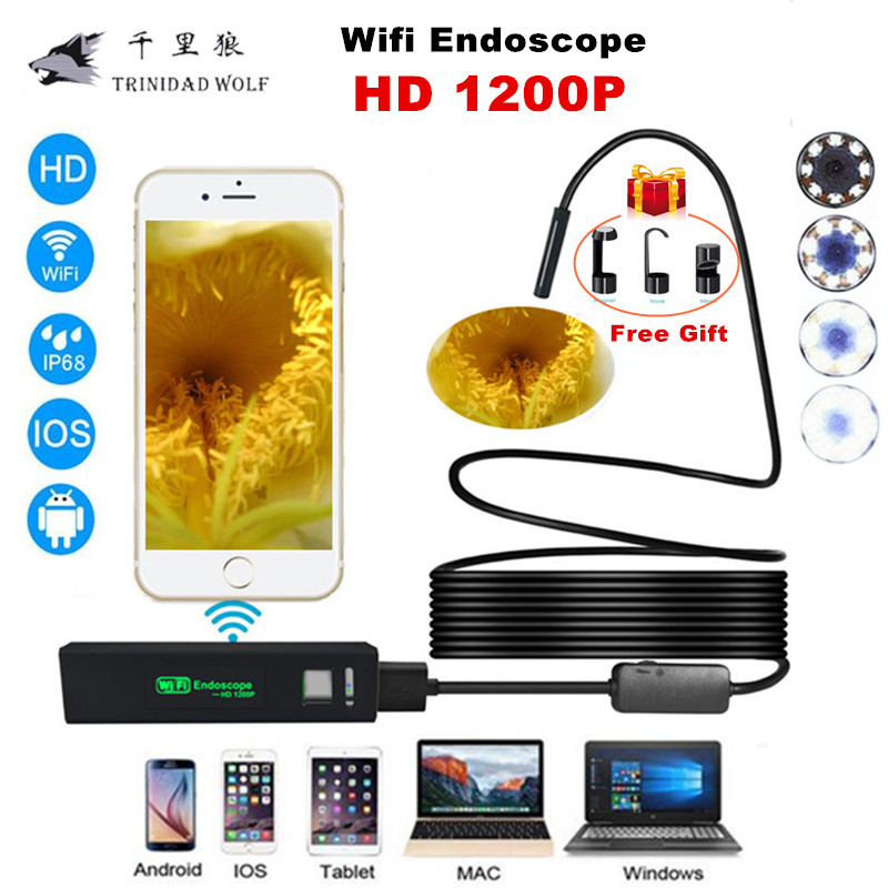 TRINIDAD WOLF Wifi Endoscope Camera 1200P 8mm for iphone Android Windows MAC Borescope Waterproof IP68 Tube Inspection Endoscope