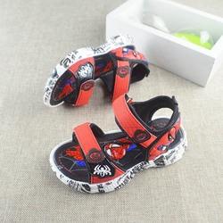 Kids Sandals for Boys Sandals LED Spiderman Fashion Summer Luminous Children Sandals  Boy Closed Toe Slippers Sandalias Shoes