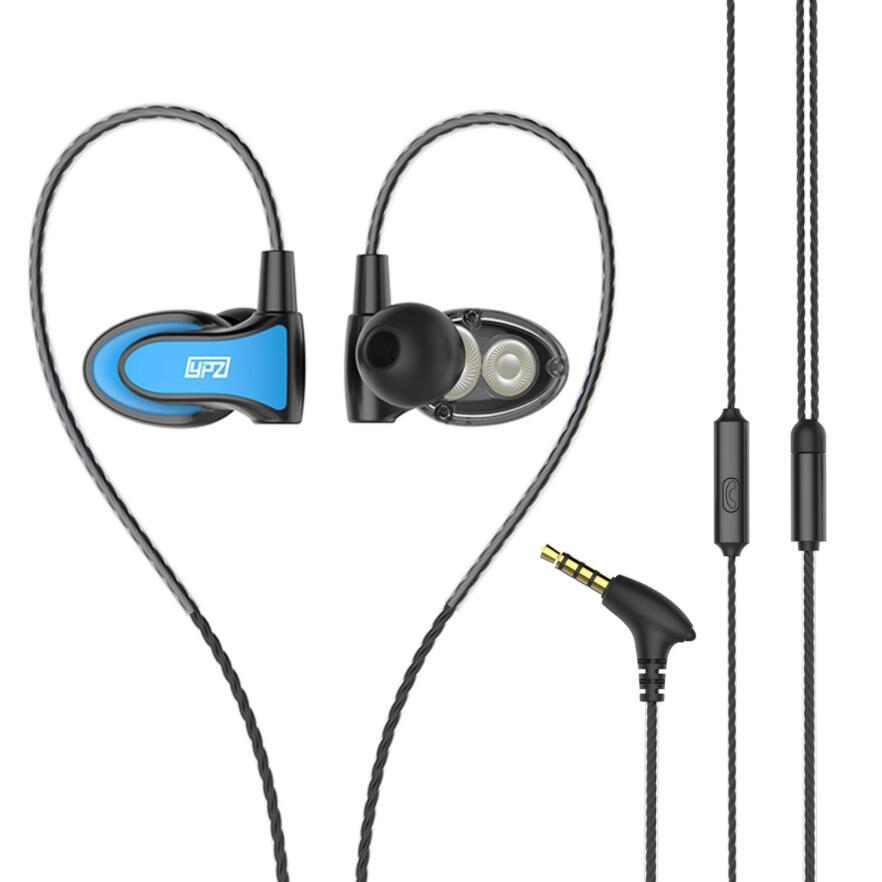 YS68 Dual Drive headset stereo music earphone sports running headphone with mic for iPhone samsung sony xiomi huawei phone mp3