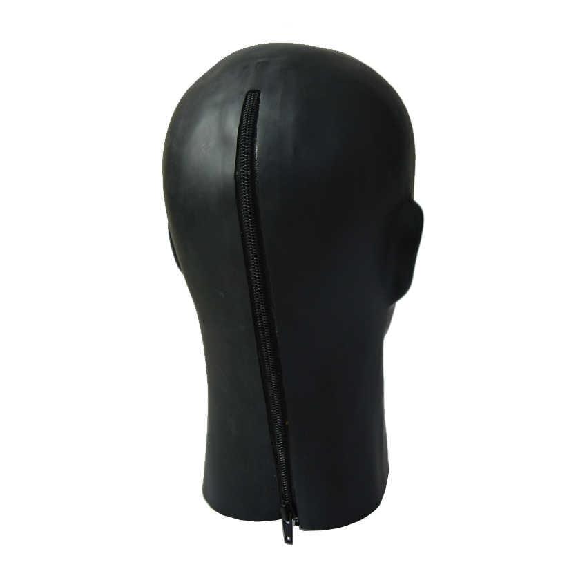 Черная латексная Фетиш маска человека капюшон человек лицо полное покрытие на голову маска подходит для головы 59-63 см
