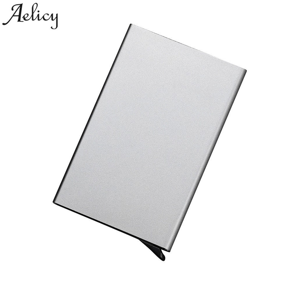 Aelicy Automatic Silde Aluminum ID Cash Card Holder Men Business RFID Blocking Wallet Credit Card Protector Case Pocket Purse genuine leather men wallet cash clip small male purse nfc blocking card holder anti scan credit card rfid protection porte carte