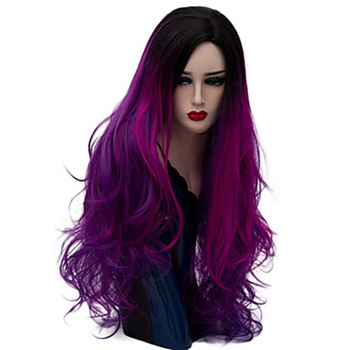 HAIRJOY Women Synthetic Hair Ombre Long Wavy Costume Cosplay Wig Purple Blue Green Pink Rainbow  23  Colors Available cosplay synthetic long fluffy purple gradient side bang wavy wig