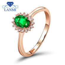 Emerald Rings For Women 18k Rose Gold Natural Diamond Gemstone Jewelry Oval 4x6mm Engagement Party Emerald Ring Gift Jewelry