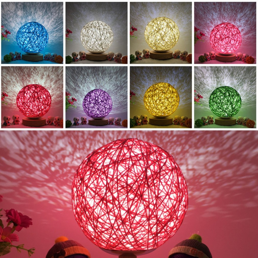 Romantic Rattan Ball Night Light with Wood Base Round Lampshade Night Lamp Home Decor Bedside Desk Lamp for Party Wedding