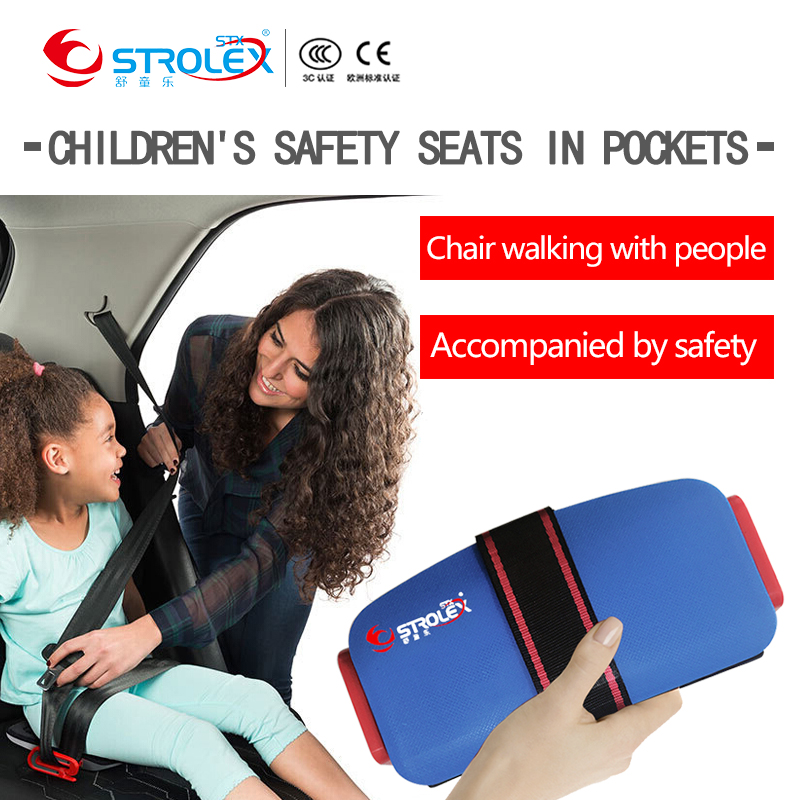 Mini Foldable Kids Car Vehicle Safety Seat Liner Portable Travel Pocket Baby Safety Seat Cushion Child Car Safety Harness 3Y~12Y ...