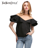 TWOTWINSTYLE 2017 Summer Women's Chiffon Blouse Shirt Sexy Tulle Slash Neck Top Ruffles Short Sleeve Black Sweet Clothes Korean