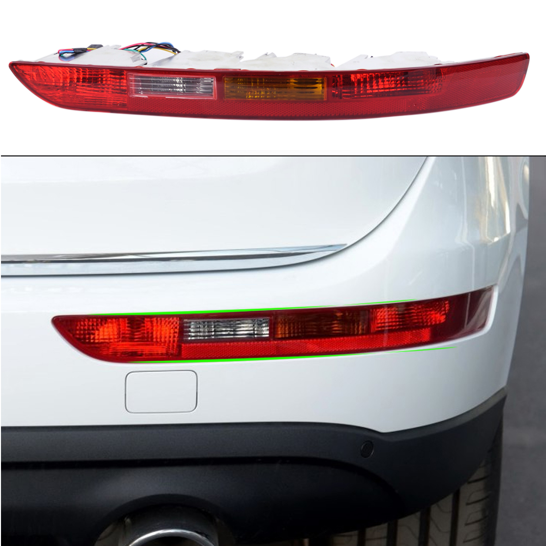 beler Car Rear Right Side Lower Bumper Taillight Lamp Reverse Fog Lamp Assembly 8R0945096 for Audi Q5 2009 - 2013 2014 2015 2016 new car styling left right rear light tail lamp taillight for 2006 2008 volkswagen passat rear taillight assembly auto parts