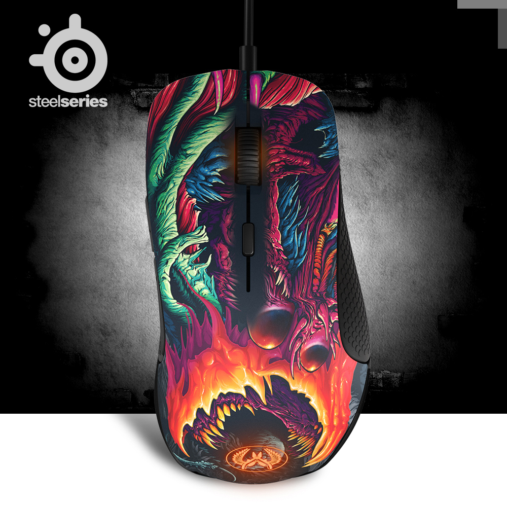 100% Original Steelseries Rival 300 CSGO Fade Edition Optical Gradient Gaming Mouse 6500CPI For LOL DOTA2 with retail box steelseries rival 500 62051