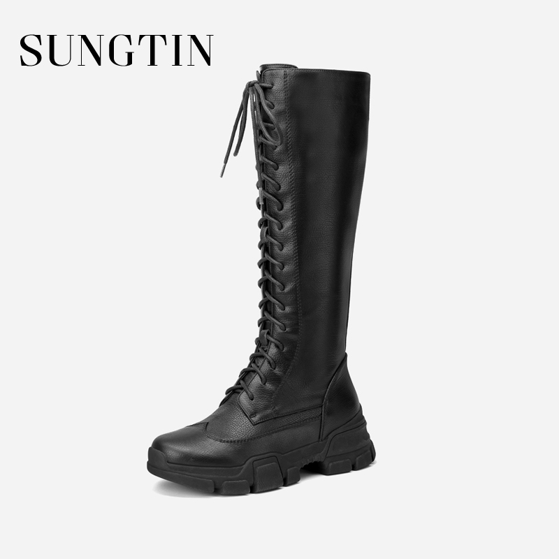 Sungtin Genuine Leather Plush Warm Winter Boots Women Black Lace-up Flat  Martin Boots Lady Handmade Long Motorcycle Riding Boots 1dda42bee