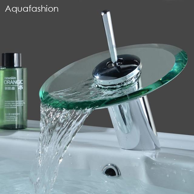 salle de bains cascade robinet cascade de verre en laiton bassin robinet salle de bain mitigeur. Black Bedroom Furniture Sets. Home Design Ideas