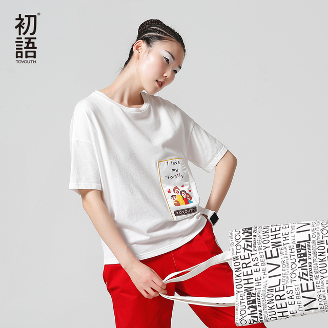 Toyouth 2017 Lindo camisetas Mujeres Camisetas Lettern Patrón Patchwork Pullover Casual camiseta manga de la Camisa de Color Sólido