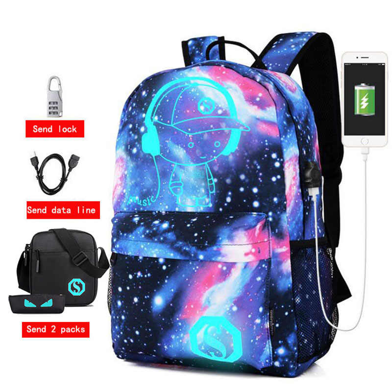 Men Backpack USB Anti-theft Password Lock Anime Luminous Printing Student Cartoon  School Bags For a2b801f6c0c3d