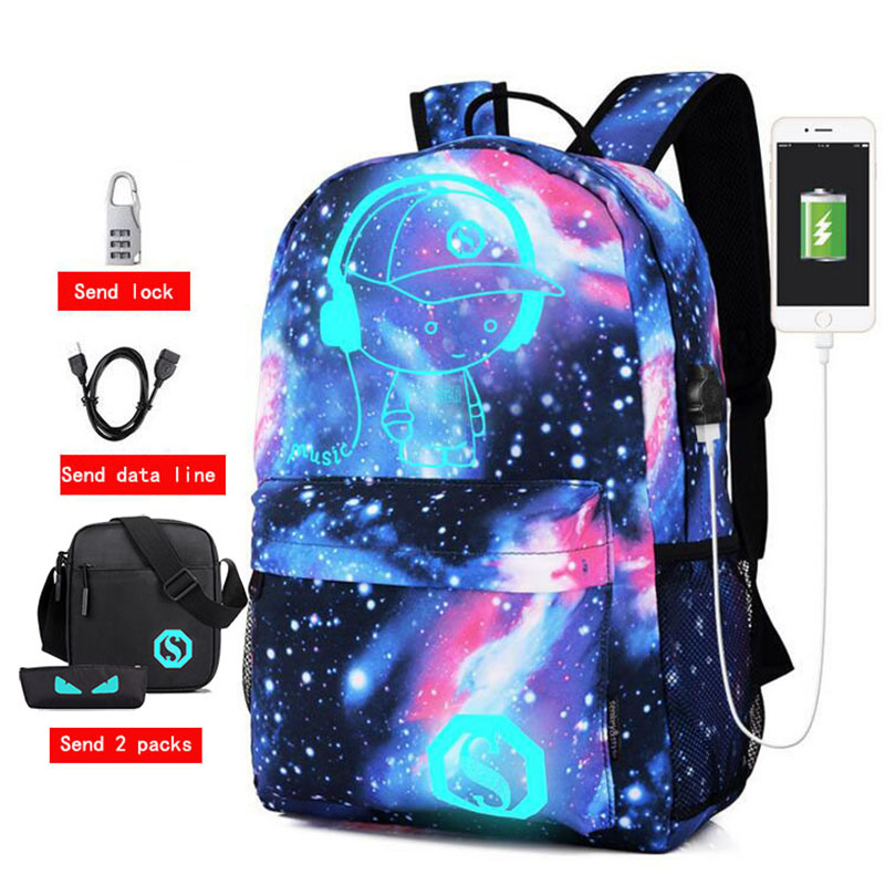 Men Backpack Usb Anti-theft Password Lock Anime Luminous Printing Student Cartoon School Bags For Teenagers New Women Backpack