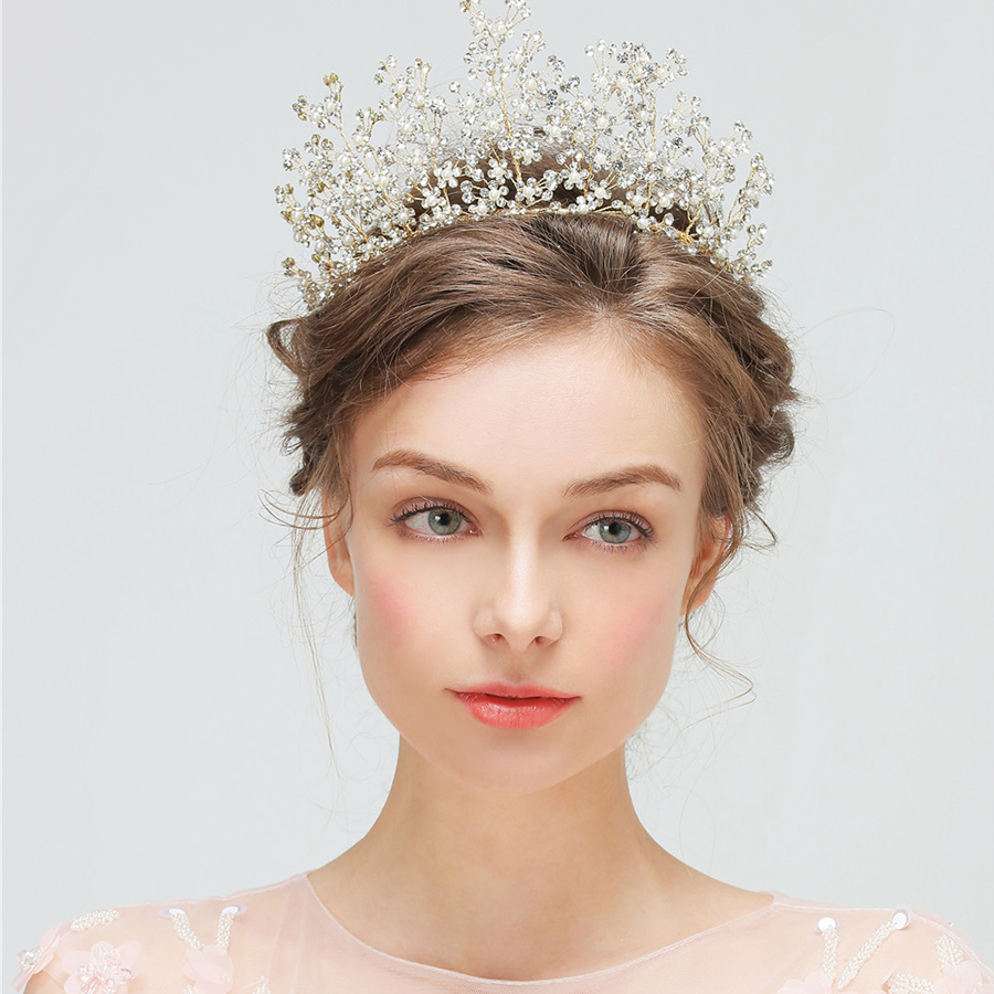 1pc/lot Corolla Crown King Princess Bride Crown Rhinestone Wedding Party Tiaras Gold Headband Queen Pageant Luxury Hair Jewelry