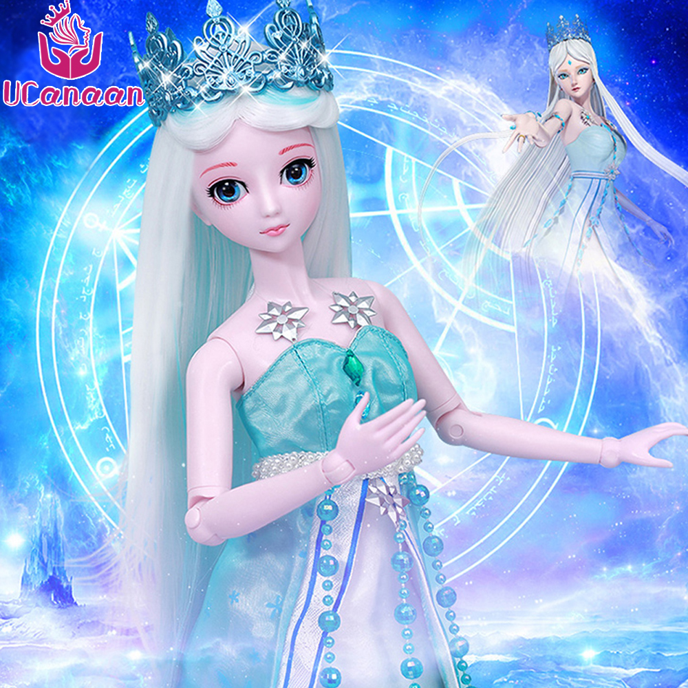 Ucanaan 1/3 Large BJD/SD Doll Ice Princess High Quality Body Joints Moveable Advanced Cosplay Doll Offer Make Up And Clothes uncle 1 3 1 4 1 6 doll accessories for bjd sd bjd eyelashes for doll 1 pair tx 03