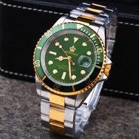 Роскошные Hk Crown бренд для мужчин часы поворотный ободок GMT сапфир Дата золото сталь спортивные синий циферблат кварцевые Военная униформа