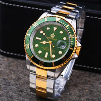Luxury Hk Crown Brand Men Clock Rotatable Bezel GMT Sapphire Date Gold Steel Sports Blue Dial