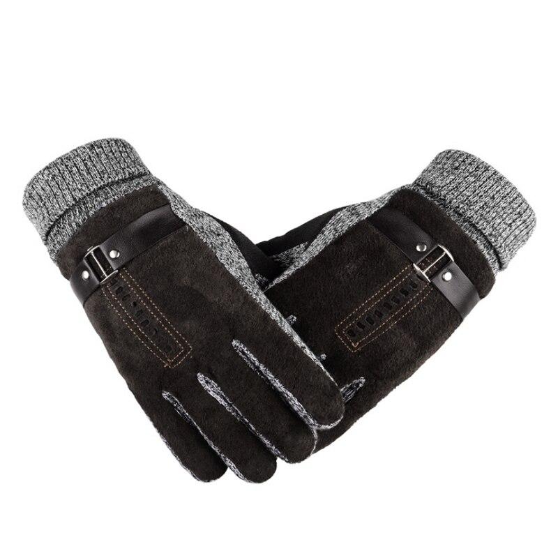 Winter Männer Leder Handschuhe Kaschmir Dicke Warme Weiche Handschuhe Voll Finger Taktische Handschuh Thermische Männlichen Workout Ski Fahren Handschuhe