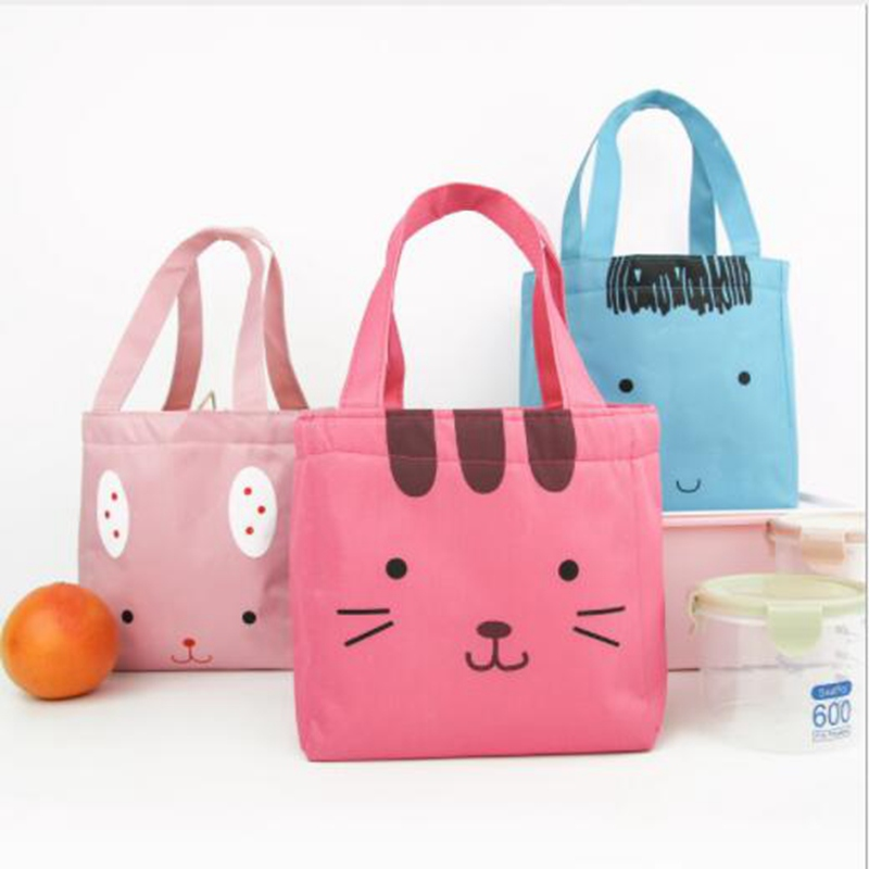 Women Animal Cartoon Cat Lunch Bag Portable Picnic Food Fresh Keep Lunch Box Insulated Convenient Cooler Kids Thermal Storage animal food fruit picks forks lunch box accessory decor