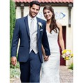 New Grooms Tuxedos Regular Wedding Suits For Men With Notched Lapel Men Suits Grooms Suits (Jacket+Pants+Vest) Custom Made