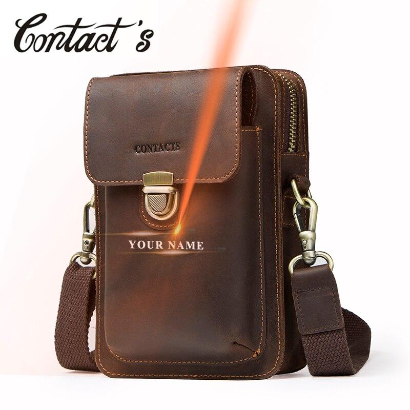 Contact's 2019 Genuine Leather Vintage Waist Packs Shoulder Bag Travel Men Card Holder Passport Waist Bag Men Cellphone Holder