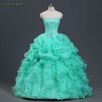 In Stock Fashion New 2015 Ball Gown Organza With Beads Quinceanera Dress Vestido Debutante 15 With