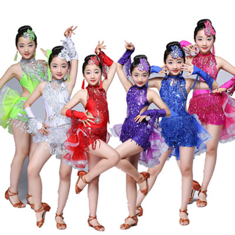 Sequin Fringe Tassel Salsa Dress Child Kids Dresses Latin Dance Wear for Girls Latin Ballroom Tango Spandex Children 2019 Rumba
