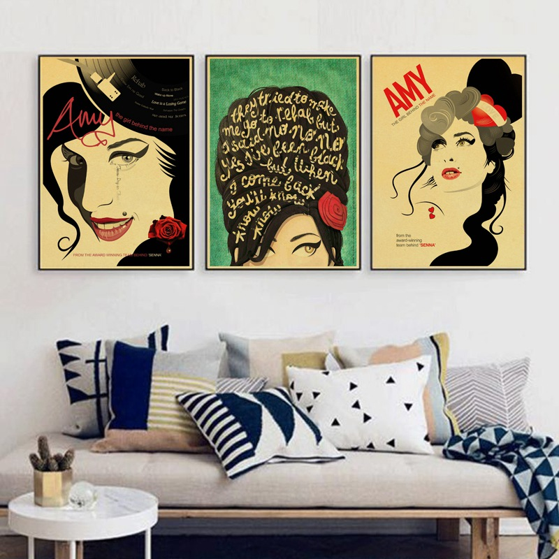 Amy Winehouse Singer Vintage Posters Kraft Paper Bar Decorative Wall Sticker Classic Paintings