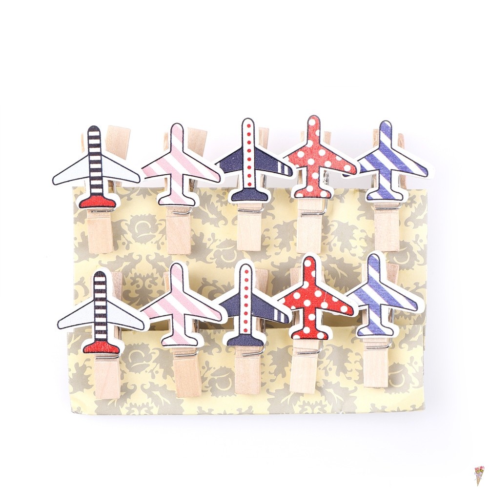 10 Pcs/pack Cartoon Plane Wooden Clip Photo Paper Craft DIY Clips Clothespin Craft Clips Party Decoration