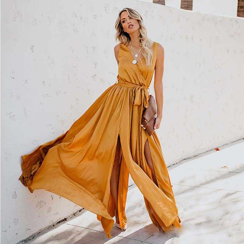 Zogaa 黄色ドレスロングマキシドレスノースリーブスプリットレースアップ v ネックパーティードレス 2019 エレガント自由奔放に生きる女性のプラスサイズ