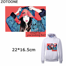 ZOTOONE Fashion Girl Iron on Patch for Clothes Diy Washable Accessories Heat Transfers Patches Clothing Decorations Appliques