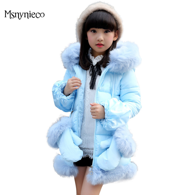 Children Winter Jackat For Girls Coats Cotton-Padded Jackets Thick Warm Hooded Coats 2017 Brand Kids Outerwear Teenage Clothes children winter coats jacket baby boys warm outerwear thickening outdoors kids snow proof coat parkas cotton padded clothes