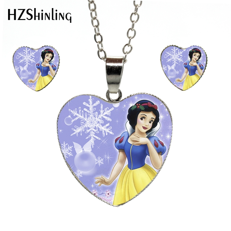 Orderly Hes-006 New Fashion Snow White Jewelry Set Beautiful Princess Heart Necklaces And Earrings Glass Cabochon Princess Necklace Good For Antipyretic And Throat Soother