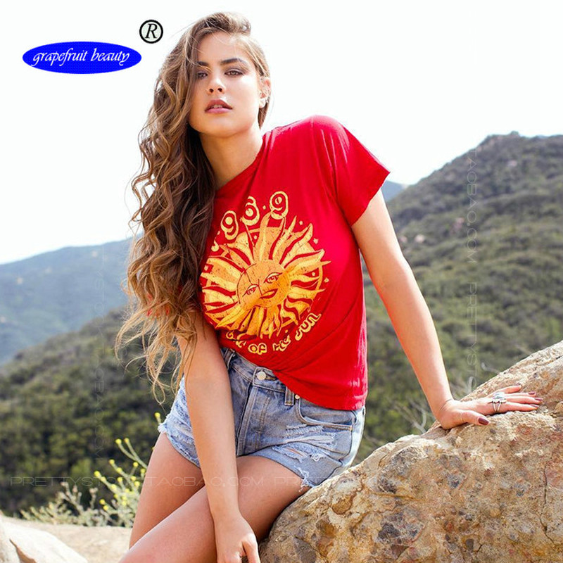 Wish Explosions Short sleeved Fast Selling Red Sun Printed Cotton Loose T Shirts Fashion European and American Leisure T Shirts in T Shirts from Women 39 s Clothing