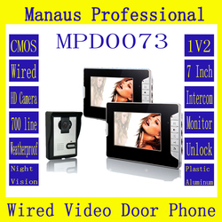 High Quality Professional Smart Home 7 inch Screen Touch Video Intercom Phone,One to Two Video Doorphone Kit Configuration D73b