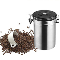 New 1L Coffee Tea Sugar Storage Tanks Sealed Cans 18/8 Stainless Steel Canisters Kitchen Storage Jars Coffee Vault