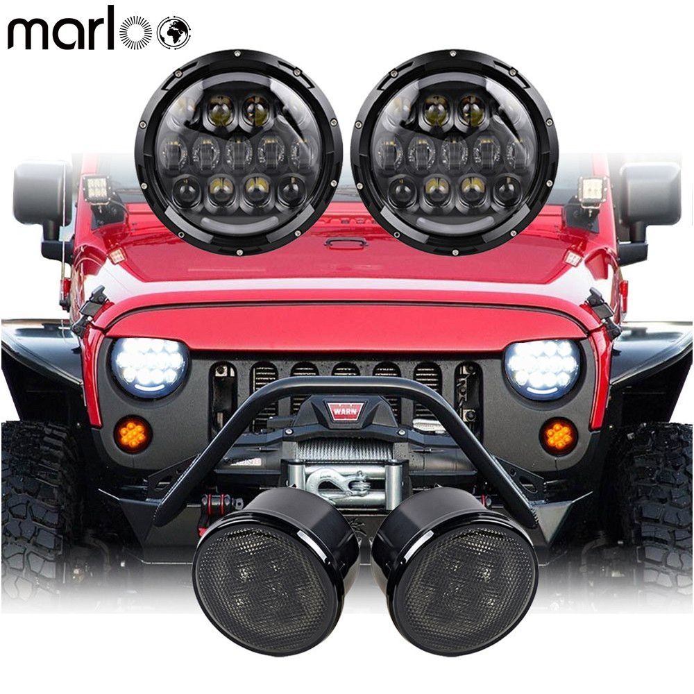 Marloo Pair 105W 7 Inch Daymaker Round LED Headlight DRL With 2pcs Smoke Turn Signal Amber Light For Jeep Wrangler JK JKU 07-18 pair 105w 7 inch led headlight for jeep