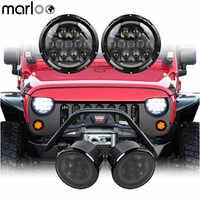 Marloo Set 105 W 7 Pollici Rotonda LED Del Faro DRL + Affumicato Led Segnale di Girata Della Luce di Colore Ambra Per Jeep Wrangler JK JKU 07 18